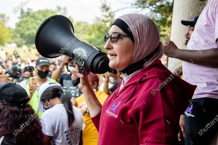 Activist Linda Sarsour of Until Freedom speaks at the Good Trouble Tuesday march for Breonna Taylor,, in Louisville, Ky