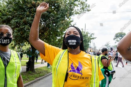 Activist Tamika D. Mallory attends the Good Trouble Tuesday march for Breonna Taylor, in Louisville, Ky