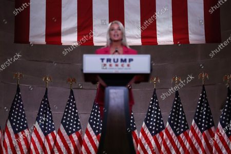 Former Florida Attorney General Pam Bondi addresses the Republican National Convention, via television feed, at the Mellon Auditorium in Washington, DC, USA, 25 August 2020. Due to the coronavirus pandemic the Republican Party has moved to a televised format for its convention.