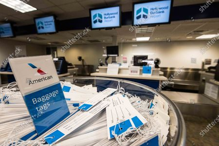 Editorial photo of American Airlines ticket counters amid Coronavirus, Bob Hope Int'l Airport Los Angeles, California - 25 Aug 2020