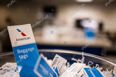 Stock Photo of American Airlines Burbabnk ticket counters amid the Coronavirs outbreak
