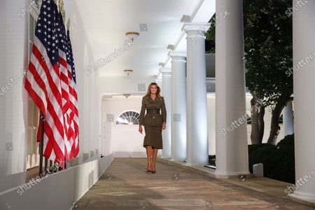 United States First Lady Melania Trump walks down the Colonnade to deliver a speech, during the second night of the Republican National Convention, in the Rose Garden at the White House in Washington, DC, USA, 25 August 2020. Due to the coronavirus pandemic the Republican Party has moved to a televised format for its convention.