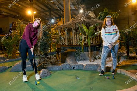 Leisure operators began reopening this week in Soar at intu Braehead after coronavirus lockdown restrictions were eased and these two pals Jessica Cushley and Victoria Smith, from Erskine, Renfrewshire were first to have a game at the Paradise Island Adventure Golf attractionJessica Cushley, 30, with friend 31-year-old Victoria Smith, both from Erskine Renfrewshire enjoy a game of adventure golf in Soar at intu Braehead.