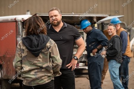 Stock Image of Monica Raymund as Jackie Quinones and Drew Powell as Anthony Delviccario