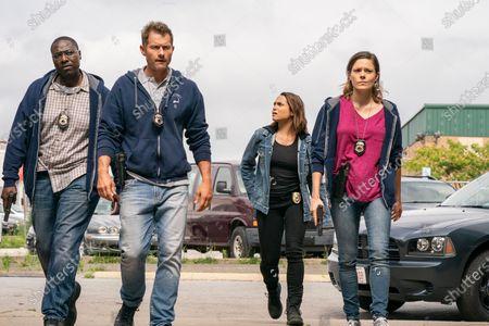 Stock Photo of Dohn Norwood as Alan Saintille, James Badge Dale as Detective Ray Abruzzo, Monica Raymund as Jackie Quinones and Tonya Glanz as Leslie Babcock