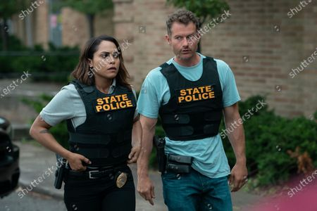 Stock Picture of Monica Raymund as Jackie Quinones and James Badge Dale as Detective Ray Abruzzo