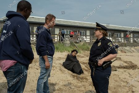 Stock Photo of Dohn Norwood as Alan Saintille, James Badge Dale as Detective Ray Abruzzo, Monica Raymund as Jackie Quinones and Wade Barrett as Chief Schellenbach