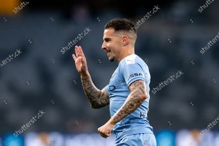 Melbourne City forward Jamie Maclaren (9) celebrates a goal only for hit to be disallowed