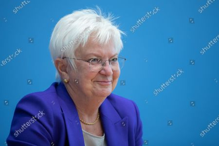 Stock Picture of Gerda Hasselfeldt, President of the German Red Cross, speaks during a press conference at the Federal Press Conference in Berlin, Germany, 26 August 2020. Federal Ministry of the Interior extends funding of the GRC Tracing Service to support people who have become separated from their family due to Second World War II to put them back in contact.