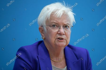 Stock Image of Gerda Hasselfeldt, President of the German Red Cross, speaks during a press conference at the Federal Press Conference in Berlin, Germany, 26 August 2020. Federal Ministry of the Interior extends funding of the GRC Tracing Service to support people who have become separated from their family due to Second World War II to put them back in contact.