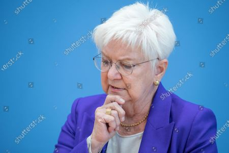 Stock Photo of Gerda Hasselfeldt, President of the German Red Cross, speaks during a press conference at the Federal Press Conference in Berlin, Germany, 26 August 2020. Federal Ministry of the Interior extends funding of the GRC Tracing Service to support people who have become separated from their family due to Second World War II to put them back in contact.