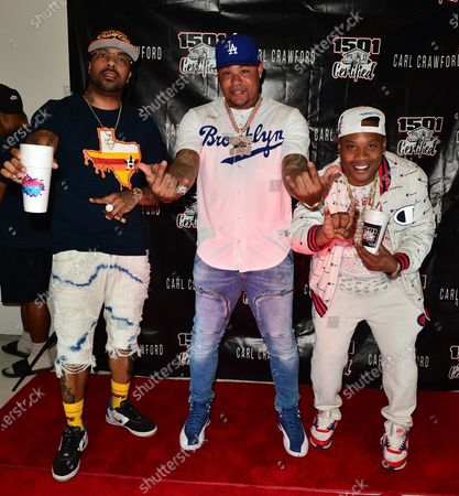 Lil' Flip, Former Los Angeles Dodgers, MLB All Star and Founder of 1501 Certified Entertainment Carl Crawford and DJ Hard Hitta attend the 1501 Backstage Pass Virtual Back To School Edition in Houston