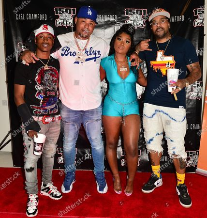 Stunna Bam and Former Los Angeles Dodgers, MLB All Star and Founder of 1501 Certified Entertainment Carl Crawford, Erica Banks and Lil' Flip attend the 1501 Backstage Pass Virtual Back To School Edition in Houston