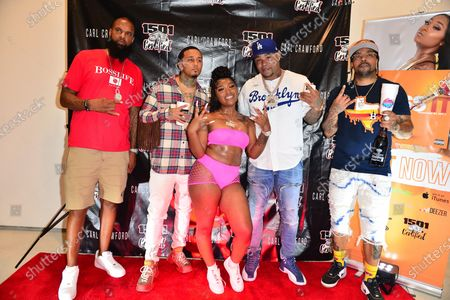 Slim Tug, Kirko Bangz, Erica Banks, Former Los Angeles Dodgers, MLB All Star and Founder of 1501 Certified Entertainment Carl Crawford and Lil Flip attend the 1501 Backstage Pass Virtual Back To School Edition