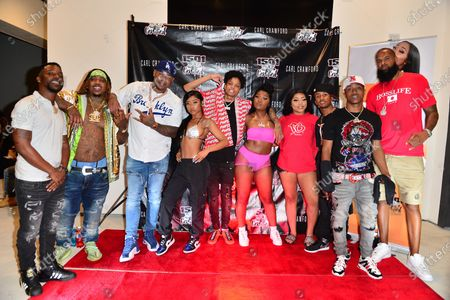 Jeff, Chucky Trill, Former Los Angeles Dodgers, MLB All Star and Founder of 1501 Certified Entertainment Carl Crawford, Young Lyric, D-Raww, Erica Banks, Lil Bri, J Xavier, Stunna Bam,    and Slim Tug attend the 1501 Backstage Pass Virtual Back To School Edition in Houston, Texas.25 Aug 2020