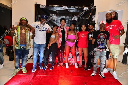 Chucky Trill, Former Los Angeles Dodgers, MLB All Star and Founder of 1501 Certified Entertainment Carl Crawford, Young Lyric, D-Raww, Erica Banks, Stunna Bam, Lil Bri, J Xavier and Slim Tug attend the 1501 Backstage Pass Virtual Back To School Edition in Houston, Texas.25 Aug 2020