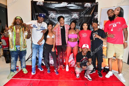 Stock Image of Chucky Trill, Former Los Angeles Dodgers, MLB All Star and Founder of 1501 Certified Entertainment Carl Crawford, Young Lyric, D-Raww, Erica Banks, Lil Bri, Stunna Bam ,J Xavier and Slim Tug attend the 1501 Backstage Pass Virtual Back To School Edition in Houston, Texas.25 Aug 2020