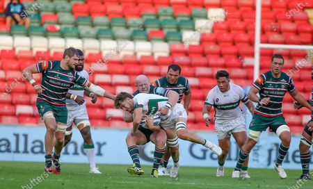 Dan Cole (3) tackles for Leicester in the Gallagher Premiership Rugby match between Leicester Tigers and London Irish at Welford Road Stadium, Leicester