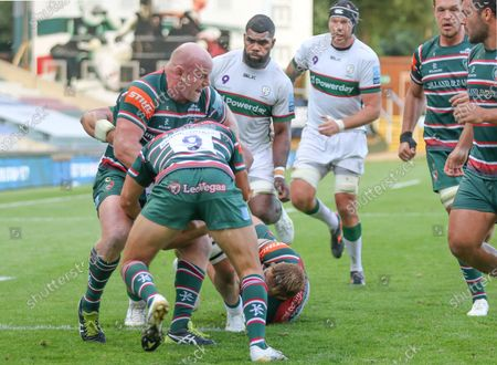 Leicester's Dan Cole and Ben Youngs stop another London Irish attack during the Gallagher Premiership Rugby match between Leicester Tigers and London Irish at Welford Road Stadium, Leicester