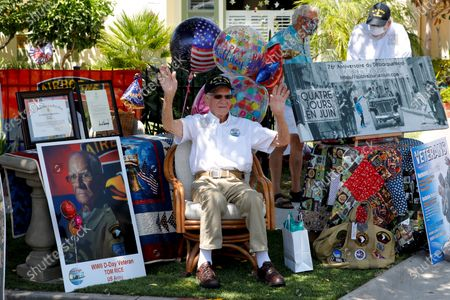 Editorial photo of WWll Veteran Tom Rice, 99 enjoys his drive-by birthday celebration in front of his home in Coronado, California, USA - 15 Aug 2020