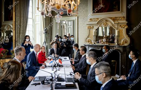 Dutch Minister Stef Blok of Foreign Affairs (C, L) receives his Chinese colleague Wang Yi (C, R) at Duivenvoorde Castle in Voorschoten, The Netherlands, 26 August 2020. The minister is touring various countries to achieve more cooperation between China and Europe.