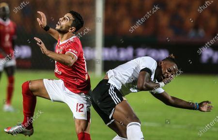 Stock Picture of Al-Ahly player Ayman Ashraf (L) in action against El Gouna player Walter Bowalya during the  Egyptian Premier League soccer match between Al-Ahly and El Gouna, in Cairo, Egypt, 26 August 2020.