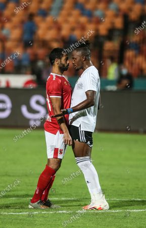 Stock Picture of Al-Ahly player Ahmed Fathi  (L) argues with El Gouna player Walter Bowalya during the  Egyptian Premier League soccer match between Al-Ahly and El Gouna, in Cairo, Egypt, 26 August 2020.