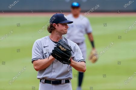 New York Yankees starting pitcher Gerrit Cole reacts during the second inning of game 1 of a MLB doubleheader baseball game between the New York Yankees and the Atlanta Braves at Truist Park in Atlanta, Georgia, USA, 26 August 2020.