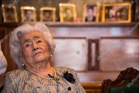 Waldramina Maclovia Quinteros, 104, poses during an interview in Quito, Ecuador, 26 August 2020. Julio Cesar and Waldramina entered the Guinness World Records book as the oldest married couple on the world.