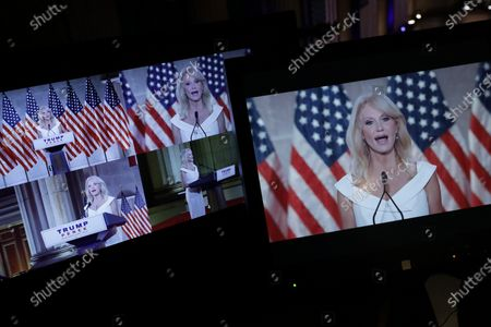 White House Counselor to the President Kellyanne Conway appears on television monitors while pre-recording her address to the Republican National Convention at the Mellon Auditorium in Washington, DC, USA, 26 August 2020. Due to the coronavirus pandemic the Republican Party has moved to a televised format for its convention.