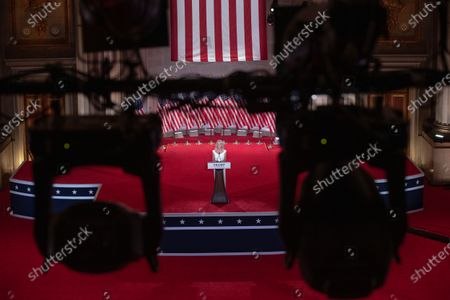 Kellyanne Conway, Counselor to the US President, pre-records her address to the Republican National Convention at the Mellon Auditorium in Washington, DC, USA, 26 August 2020. Due to the coronavirus pandemic the Republican Party has moved to a televised format for its convention.