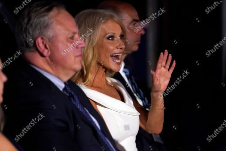 White House counselor Kellyanne Conway waves as she waits to hear Vice President Mike Pence speak on the third day of the Republican National Convention at Fort McHenry National Monument and Historic Shrine in Baltimore