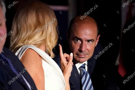 White House counselor Kellyanne Conway talks with Labor Secretary Eugene Scalia before Vice President Mike Pence speaks on the third day of the Republican National Convention at Fort McHenry National Monument and Historic Shrine in Baltimore