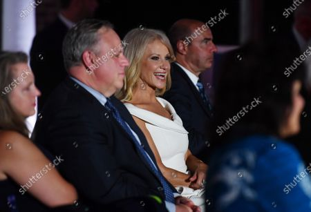 Kellyanne Conway (C), Counselor to the President, who is leaving the White House at the end of the month, attends the third night of the Republican Nationals Convention, at Fort McHenry in Baltimore, Maryland, USA 26 August 2020.