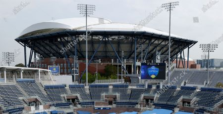 Stock Photo of A general view of Arthur Ashe Stadium and Grandstand courts on the grounds of the USTA Billie Jean King National Tennis Center at the Western and Southern Open in Flushing Meadows, New York, USA, 27 August 2020. The tournament was put on hold for a day in protest of the police shooting of Jacob Blake in Wisconsin.
