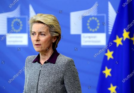 President of the European Commission Ursula von der Leyen speaks during a media conference at EU headquarters in Brussels, . The European Commission president said Thursday her team could face a reshuffle after the resignation of the Irish trade Commissioner, Phil Hogan, over a controversy involving his questionable adherence to COVID-19 rules