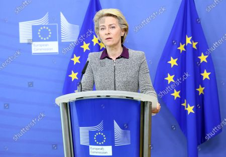 President of the European Commission Ursula von der Leyen addresses a press conference following the resignation of the EU trade commissioner, in Brussels, Belgium, 27 August 2020. EU trade commissioner Phil Hogan, a key figure in Brexit talks and one of the bloc's most senior officials, resigned on 26 August after Ireland accused him of breaching coronavirus guidelines.