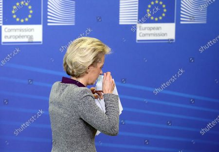 President of the European Commission Ursula von der Leyen puts on her face mask as she leaves after addressing a press conference following the resignation of the EU trade commissioner, in Brussels, Belgium, 27 August 2020. EU trade commissioner Phil Hogan, a key figure in Brexit talks and one of the bloc's most senior officials, resigned on 26 August after Ireland accused him of breaching coronavirus guidelines.