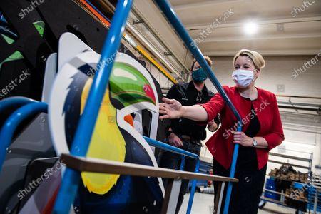 Editorial image of German Minister Franziska Giffey visits Berliner Seilfabrik, Berlin, Germany - 27 Aug 2020