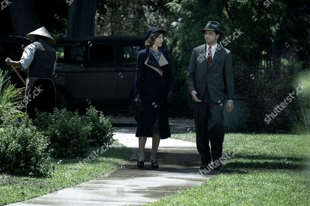 Juliet Rylance as Della Street and Matthew Rhys as Perry Mason