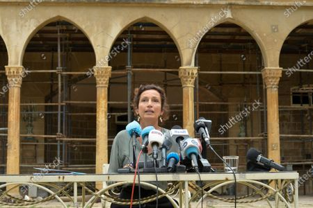 UNESCO Director-General Audrey Azoulay talks to the media during a news conference at Sursock Palace in Beirut, Lebanon, 27 August 2020. Azoulay arrived in Lebanon on 26 August 2020 in a tour to check possible ways in helping in reconstructing destroyed school as well as building considered heritage for UNESCO. According to Lebanese Health Ministry at least 181 people were killed, and more than six thousand injured in the Beirut blast that devastated the port area on 04 August and believed to have been caused by an estimated 2,750 tons of ammonium nitrate stored in a warehouse. The explosion damaged some 50 thousand housing units, and left 300 thousand people homeless. Preparations for the restoration of partially damaged buildings began in the areas of Karantina, Gemmayze, and Mar Mikhael facing the port of Beirut.