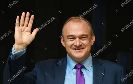 Sir Ed Davey waves after being announced as the new leader of the Liberal Democratic Party, in London, Britain, 27 August 2020. Ed Davey is elected as the new leader of the Liberal Democrats, defeating Layla Moran in a two-person contest to succeed Jo Swinson, who resigned after losing her seat at the December general election.