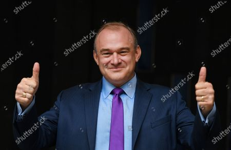Sir Ed Davey gives a thumbs up after being announced as the new leader of the Liberal Democratic Party, in London, Britain, 27 August 2020. Ed Davey is elected as the new leader of the Liberal Democrats, defeating Layla Moran in a two-person contest to succeed Jo Swinson, who resigned after losing her seat at the December general election.