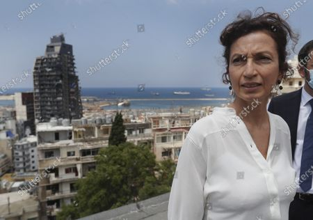 UNESCO'S Director-General Audrey Azoulay, visits a damaged school near the site of the Aug. 4 explosion that hit the seaport, in Beirut, Lebanon, . Azoulay is in Beirut for two days to mobilize the international community and make education, culture and heritage the main pillars of reconstruction efforts in the wake of the devastation