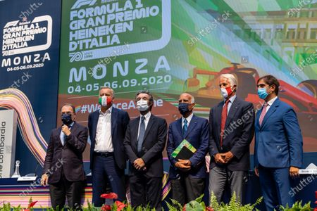 Angelo Sticchi Damiani, President of ACI (Automobile Club Italia) with Giovanni Malago, President of the Italian National Olympic Committee (CONI) and member of the International Olympic Committee, Geronimo La Russa, President of Automobile club Milano, Attilio Fontana, President of Regione Lombardia, Giuseppe Redaelli, President of SIAS and Dario Allevi, Mayor of Monza and former President of the Province of Monza and Brianza during F1 Grand Prix Heineken of Italy Press conference, Formula 1 Championship