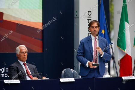 Geronimo La Russa, President of Automobile club Milano with Giovanni Malago, President of the Italian National Olympic Committee (CONI) and member of the International Olympic Committee during F1 Grand Prix Heineken of Italy Press conference, Formula 1 Championship