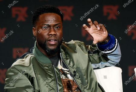 """Kevin Hart, an executive producer of the FX comedy series """"Dave,"""" takes part in a panel discussion on the show at the 2020 FX Networks Television Critics Association Winter Press Tour in Pasadena, Calif., on . Hart is nominated for an Emmy for his """"Kevin Hart: Don't F**K This Up"""" series. His Laugh Out Loud Network celebrated its third anniversary, and now he's got deal with LOL on NBC's Peacock Network"""