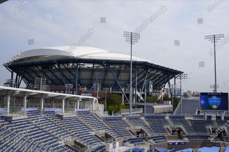 The stands remain empty at the Western & Southern Open tennis tournament at the Billie Jean King National Tennis Center, in New York. The tournament was put on hold for a day in a call for racial justice Thursday after Jacob Blake, a Black man, in Wisconsin was shot by police