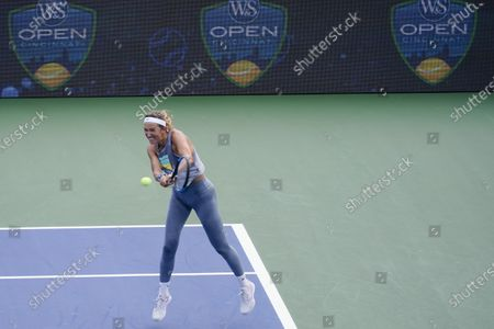 """Victoria Azarenka, of Belarus, returns a shot during a practice session at the Western & Southern Open tennis tournament at the Billie Jean King National Tennis Center, in New York. """"The USTA, ATP Tour, and WTA have decided to recognize this moment in time by pausing tournament play at the Western & Southern Open on Thursday, Aug. 27,"""" the three oganizations said in a statement"""