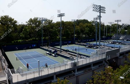 Players are seen practicing on courts 15 and 16 on the grounds of the USTA Billie Jean King National Tennis Center at the Western and Southern Open in Flushing Meadows, New York, USA, 27 August 2020. The tournament was put on hold for a day in protest of the police shooting of Jacob Blake in Wisconsin.